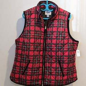 NWT Old Navy red plaid quilted vest XXL
